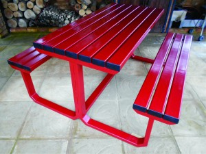 Red Steel Bench